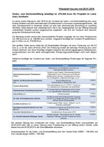 Pressemitteilung Kultur- und Denkmalstiftung des Landkreises Northeim vom 29.01.2016