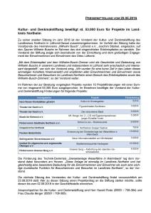 Pressemitteilung Kultur- und Denkmalstiftung des Landkreises Northeim vom 20.05.2016