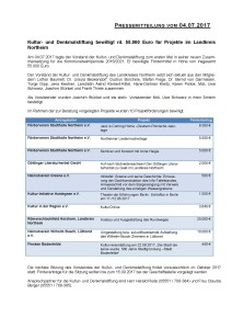Pressemitteilung Kultur- und Denkmalstiftung des Landkreises Northeim vom 05.07.2017