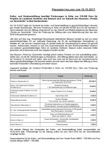 Pressemitteilung Kultur- und Denkmalstiftung des Landkreises Northeim vom 19 10 2017