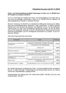 Pressemitteilung Kultur- und Denkmalstiftung des Landkreises Northeim vom 07 11 2018